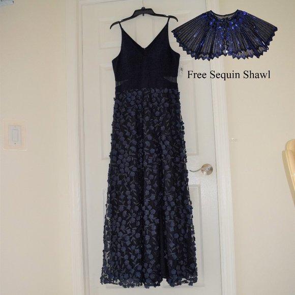 Xscape Sleeveless 3D Flower Ball Gown Size 14